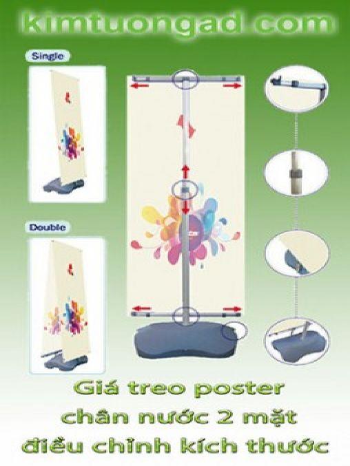 Giá treo poster chân nước 2 mặt điều chỉnh kích thước